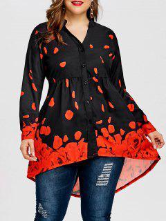 Plus Size Rose Petal Valentine Top - Black&red 5xl