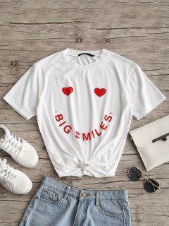 Camiseta Con Estampado De Letras Del Corazón - Blanco L