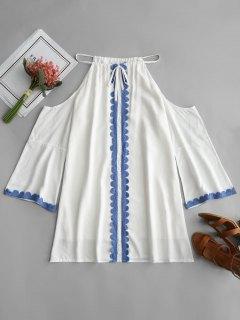 Vestido Trapecio De Hombro Frío Con Lazo Automático - Blanco S