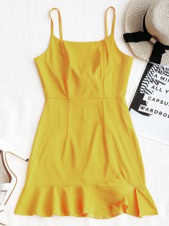 Back Zip Ruffle Slip Mini Dress - Mustard S