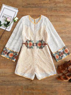 Open Back Embroidered Crochet Romper - White L