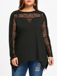 Plus Size Lace Insert Crescent Hem T-shirt - Black 5xl