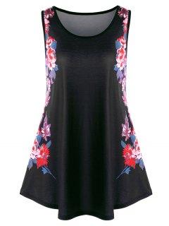 Camiseta Sin Mangas Con Estampado Floral - Negro 5xl