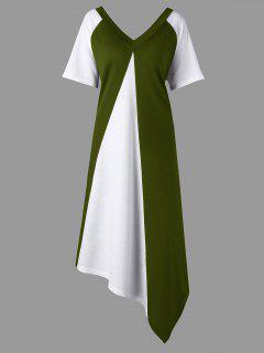 Robe Asymétrique En T De Couleur Assortie à Grande Taille - Vert Armée 5xl