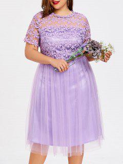 Robe De Demoiselle D'honneur En Tulle Grande Taille - Violet Clair 5xl
