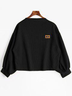 Badge Patch Lantern Sleeve Plus Size Sweatshirt - Black Xl