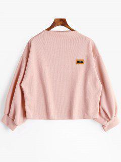 Badge Patch Lantern Sleeve Plus Size Sweatshirt - Pink 3xl
