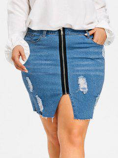 Zip Front Plus Size Ripped Bodycon Demin Skirt - Denim Blue 3xl