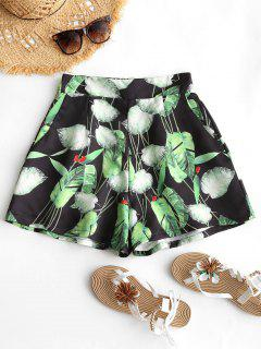High Waist Leaves Wide Leg Shorts - Black And Green L
