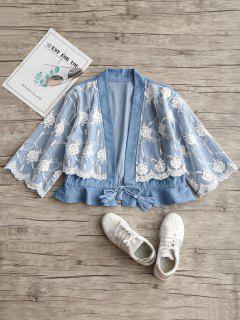 Floral Mesh Panel Ruffles Chambray Blouse - Light Blue L