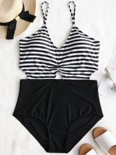 Cutout Striped Plus Size Monokini - White And Black 4xl