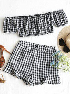 Checked Off Shoulder Top And Shorts Set - Black White L