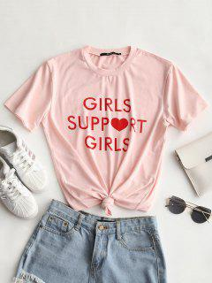 Letter Print Round Collar Tee - Light Pink S