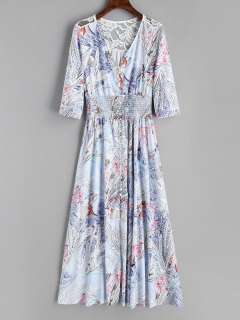 Floral Button Up Lace Panel Maxi Dress - Floral L