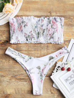 Haut De Bikini Avec Bas Coupe Haut Smocké Bandeau - Blanc Xl