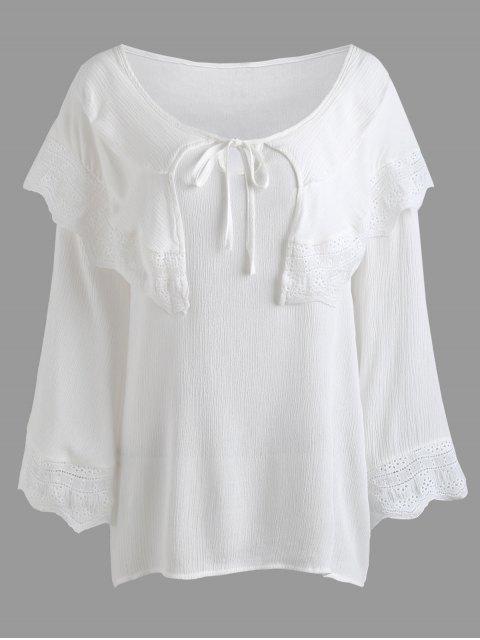 Crinkly Overlay Spitzeneinsatz Plus Size Bluse - Weiß 2XL Mobile