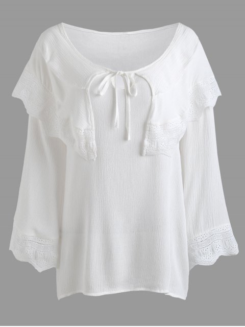 ladies Crinkly Overlay Lacework Insert Plus Size Blouse - WHITE 4XL Mobile