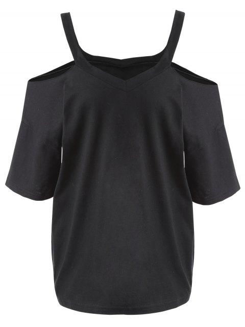T-shirt à épaules Nues Grande Taille - Noir 3XL Mobile