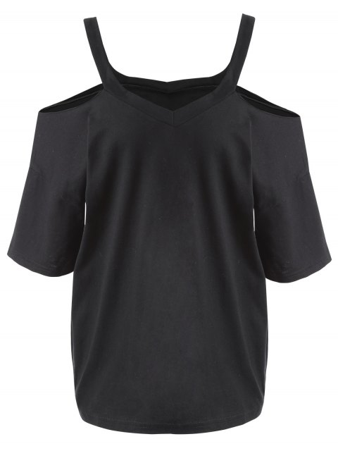new Plus Size Cold Shoulder T-shirt - BLACK 5XL Mobile