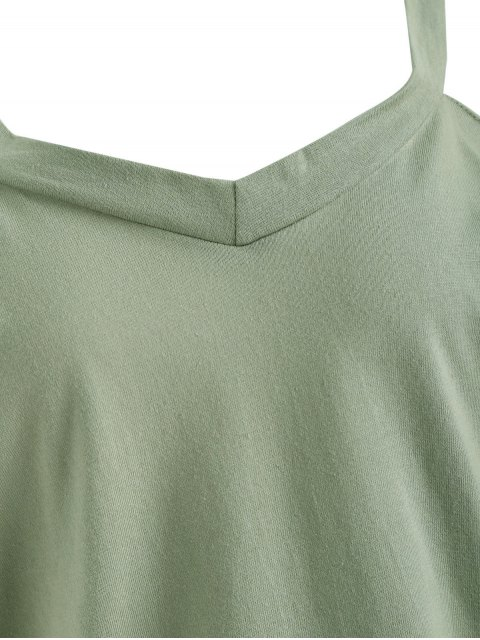 hot Plus Size Cold Shoulder T-shirt - PEA GREEN 5XL Mobile