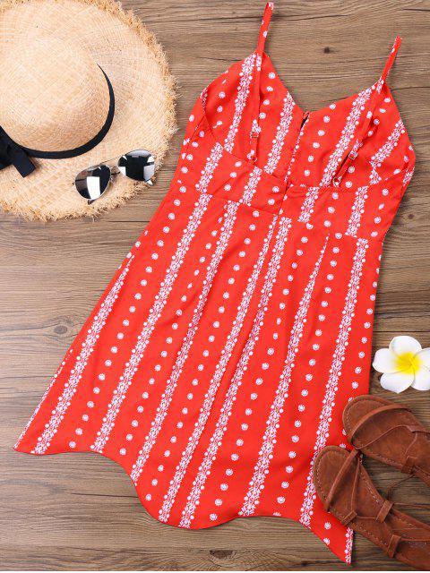 Vestido de tirantes de espagueti con estampado de volantes - Rojo XL Mobile