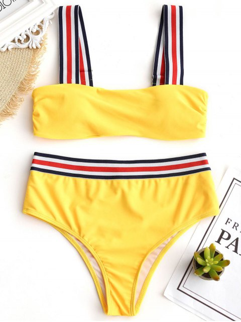 Ensemble Bikini Rembourré à Rayures - Jaune S Mobile