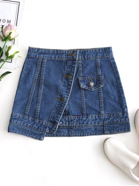 ladies Jean Button Up Mini Skirt - DENIM BLUE XL Mobile