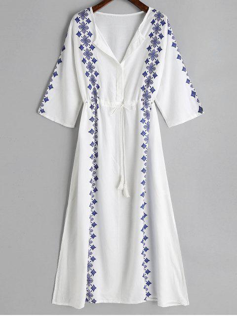 Vestido de escote maxi raja estampada - Blanco Única Talla Mobile