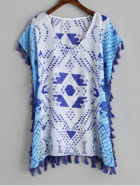 buy Geometrical Print Tassel Chiffon Kaftan - BLUE AND WHITE ONE SIZE Mobile