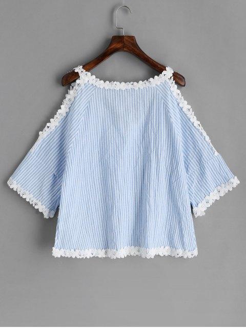 lady Cold Shoulder Crochet Flower Striped Blouse - LIGHT BLUE L Mobile