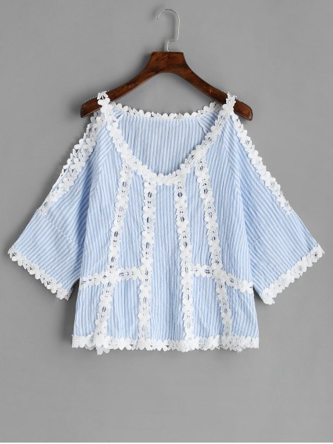 lady Cold Shoulder Crochet Flower Striped Blouse - LIGHT BLUE L Mobile