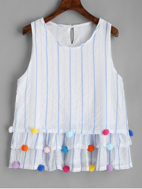 outfits Pom Poms Tiered Sleeveless Striped Blouse - WHITE XL Mobile