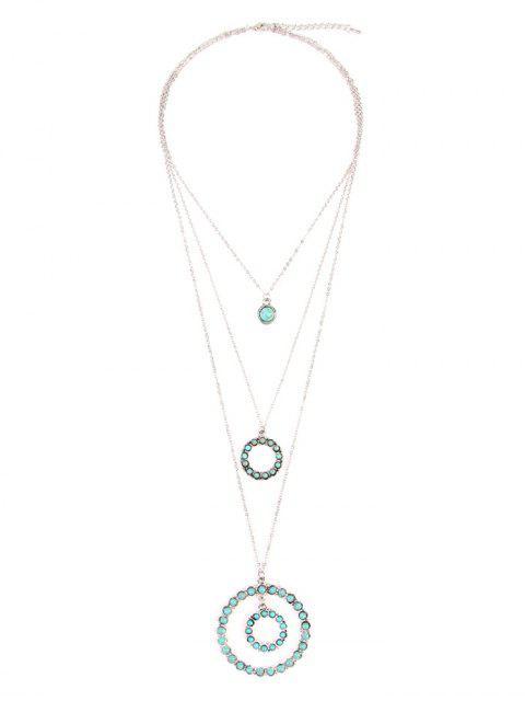 Multi Layer Retro Faux Türkis Kreis Anhänger Halskette - Silber  Mobile