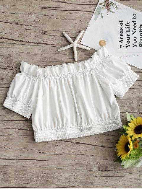 Schulterfrei Rüschensaum Crop Bluse - Weiß M Mobile