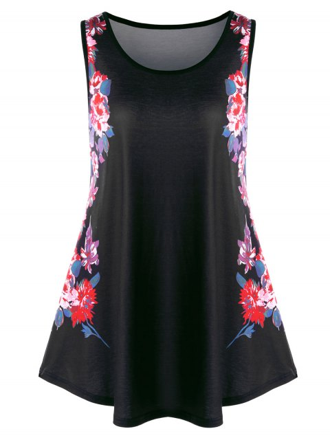 latest Plus Size Floral Tunic Tank Top - BLACK 3XL Mobile