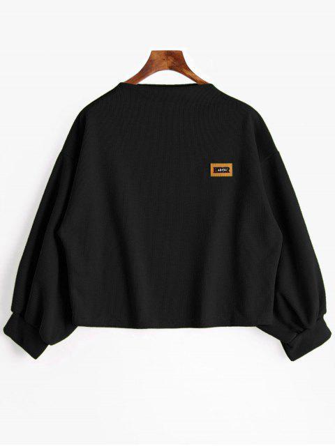 outfit Badge Patch Lantern Sleeve Plus Size Sweatshirt - BLACK 2XL Mobile