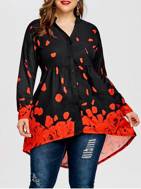 outfit Plus Size Rose Petal Top - BLACK&RED 5XL Mobile