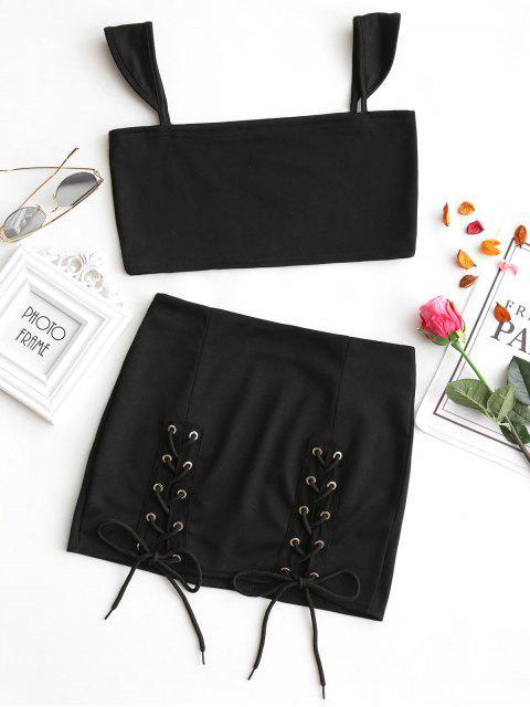 Crop Top et Jupe avec Laçage - Noir L Mobile