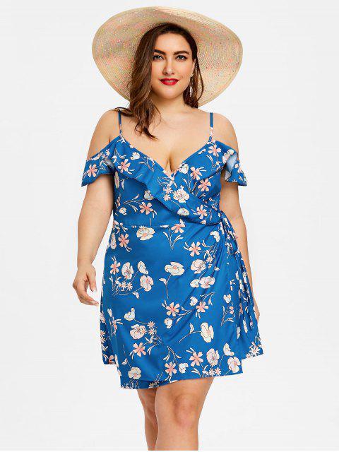 Vestido con estampado floral con volantes y talla grande - Azul 4XL Mobile