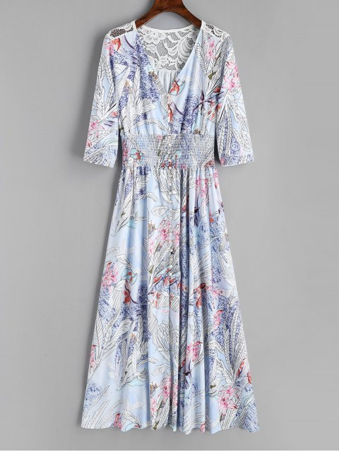 shop Floral Button Up Lace Panel Maxi Dress - FLORAL L Mobile