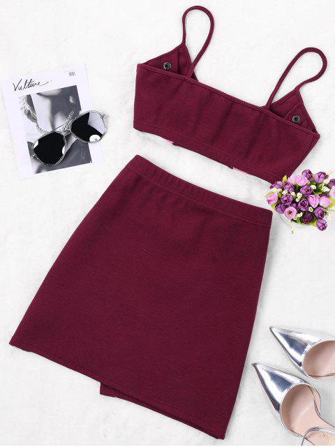 Conjunto de dos piezas con falda de dos tonos - Vino Rojo XL Mobile