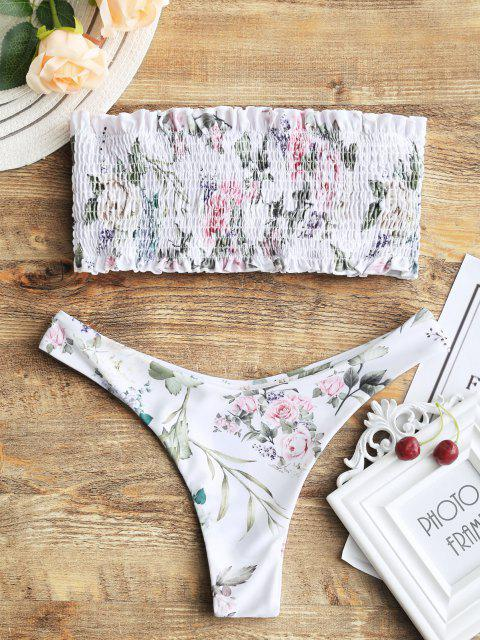 Bikini Top A Fascia E Bottoms Con Taglio Alto A Punto Smock - Bianca XL Mobile