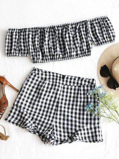 Checked Off Shoulder Top And Shorts Set - Black White S