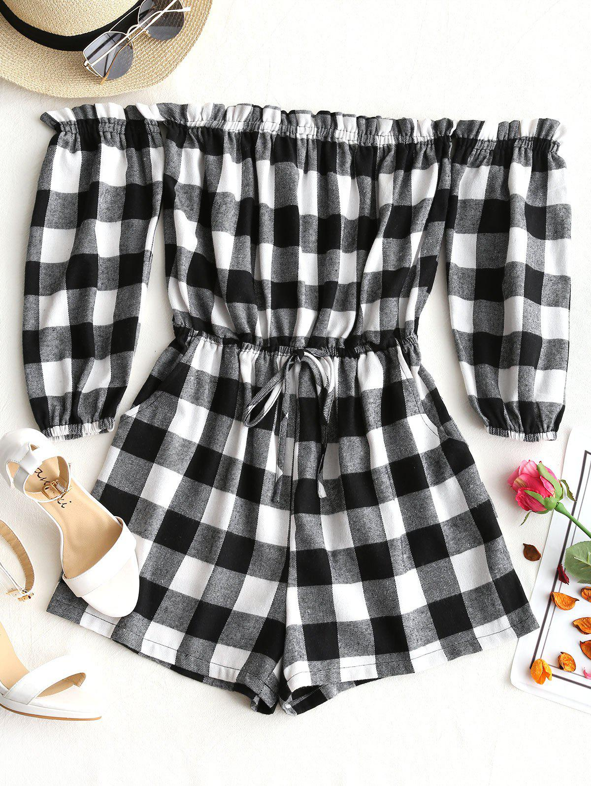 Off Shoulder Ruffles Checked Romper 252836803