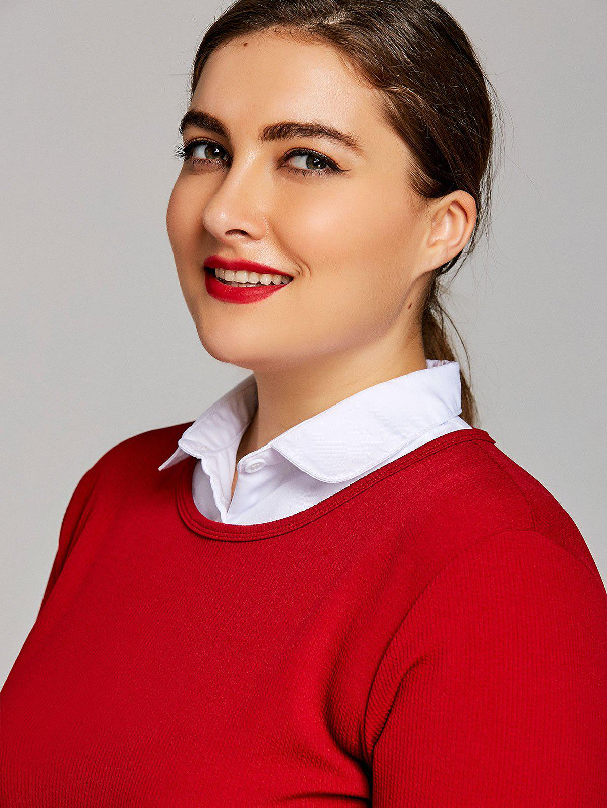 Plus Size Cotton Flat Shirt Detachable Collar 249795701