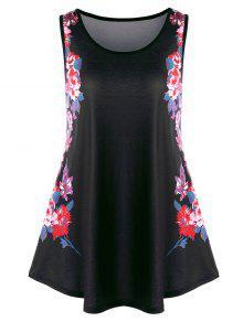 بلوزة تانك ذات مقاس كبير مزينة بأزهار - أسود Xl