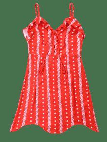 Rojo De Volantes Vestido Espagueti De Con De Estampado S Tirantes xqq8gw4O