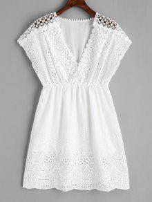 فستان غارق الرقبة  - أبيض