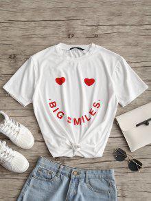 تيه طباعة الحرف ونمط القلب - أبيض S
