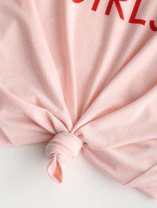 Cuello De Estampado Y Con Letras L Redondo Rosa Camiseta Claro TO5nw